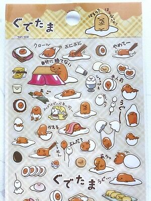 Gudetama Sticker Sheet PVC Plastic Sanrio Japan
