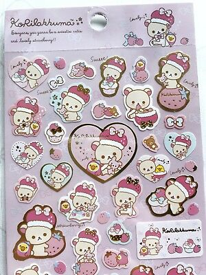 KORILAKKUMA SanX rilakkuma sticker sheet - pink strawberry JAPAN kawaii gift
