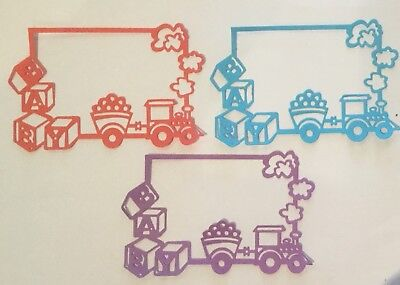 4 X Baby Train Frames Paper Die Cuts/Scrapbooking Card Topper Embellishment