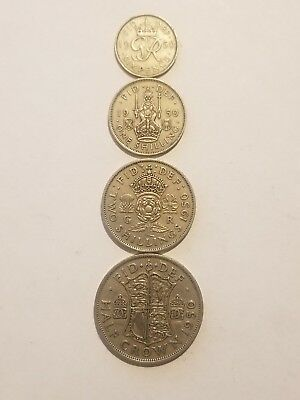 1950 England (UK)  4 Coin Lot -  Sixpence, 1 Shilling, 2 Shillings, 1/2 Crown