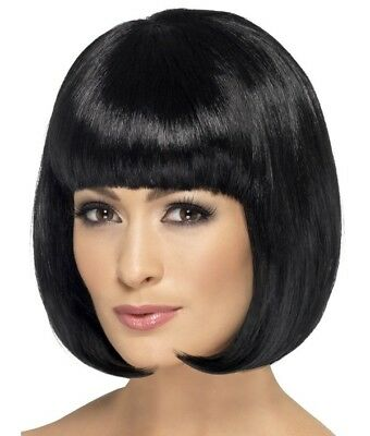 Ladies Bob Fancy Dress Wig Partyrama Costume Wig Black by Smiffys Cosplay