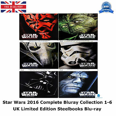 Star Wars 1-6 Complete Collection 1 2 3 4 5 6 Limited Edition Steelbooks Blu-ray
