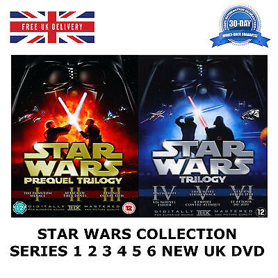 STAR WARS SERIES 1-6 COLLECTION 1 2 3 4 5 6 Theatrical Remastered 12 Disc UK DVD