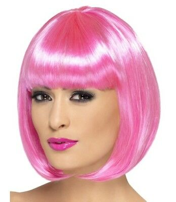Ladies Bob Fancy Dress Wig Partyrama Costume Wig Pink by Smiffys Cosplay