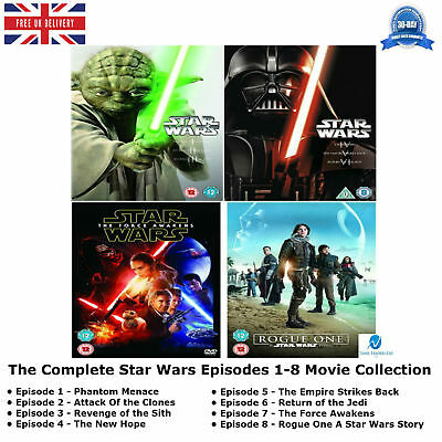 The Star Wars Episodes 1 - 8 Complete Movie Collection 1 2 3 4 5 6 7 8 New DVD
