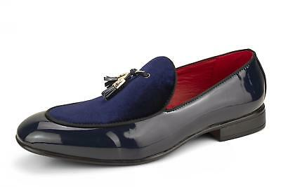 Mens Slip On Patent Shiny Tussle Driving Loafers Leather Smart Casual Blue Shoes