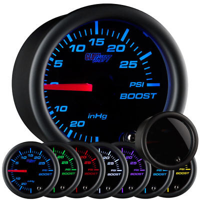 GlowShift 52mm Tinted 7 Color PSI Turbo Boost Pressure Gauge GS-T701 Tinted Face
