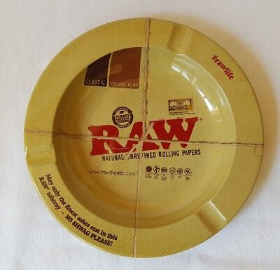 RAW Natural Unrefined Metal Smokers Smoking ASHTRAY Cigarette Round 5.5 INCHES
