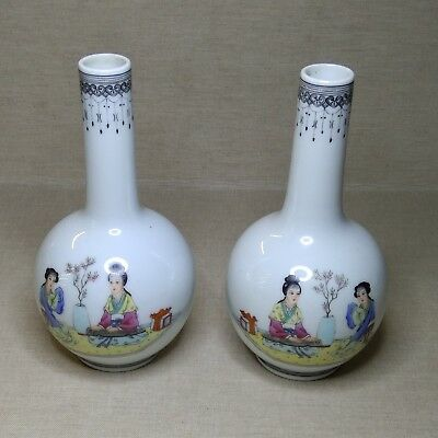 Antique A pair of Chinese small porcelain  vases, 20th century. There stamped.