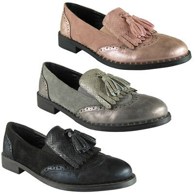 Womens Ladies Tassle Brogue Loafers Casual Comfy Studs Flat Low Heel Shoes Size
