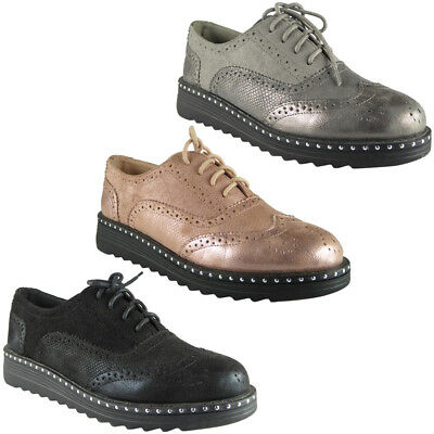 Womens Ladies Lace Up Brogue Loafers Casual Comfy Studs Flat Low Heel Shoes Size