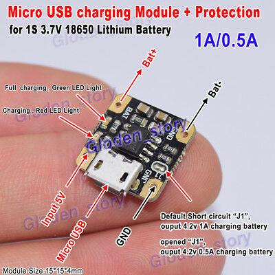 Micro USB 5V 1A 3.7V 18650 Lithium Li-ion Battery Charging Board Charger Module