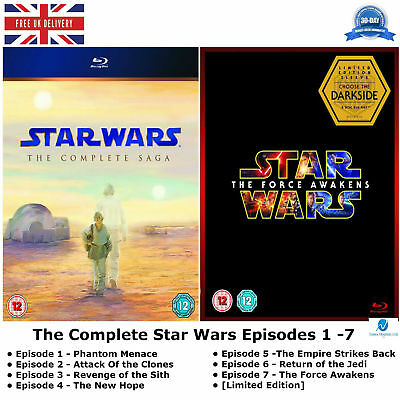 The Star Wars Episodes 1-7 Complete Collection 1 2 3 4 5 6 7 New Sealed Blu-ray