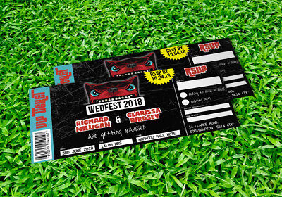 50 Download Festival Hard Rock Heavy Metal Concert Ticket Wedding Invitations!
