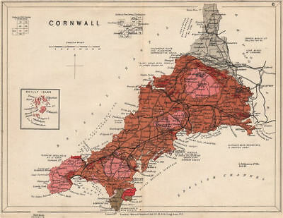 CORNWALL Geological map. STANFORD 1913 old antique vintage plan chart
