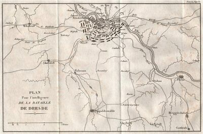 Plan of the BATTLE OF DRESDEN 1813 & environs. Germany 1820 old antique map