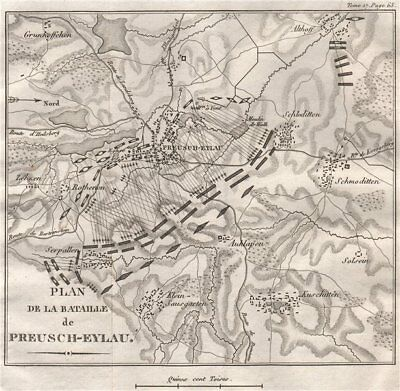 Battle of Preussisch-Eylau (Bagrationovsk) 1807, East Prussia. Russia 1820 map