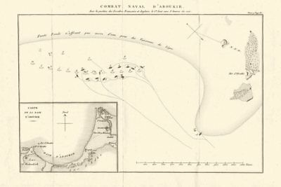Plan of the Battle of the Nile (Aboukir) 1798. French Invasion of Egypt 1818 map