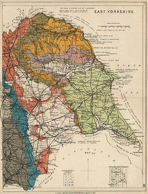 EAST YORKSHIRE Geological map. STANFORD 1913 old antique plan chart