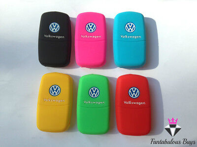 Vw Silicone Key Fob Cover Rubber Case Mk5 Mk6 Golf Beetle Polo Green Blue Pink