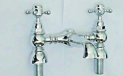 Traditional Victorian Bath Filler Tap Hot Cold 2 Hole Deck Mount X Cross Knobs