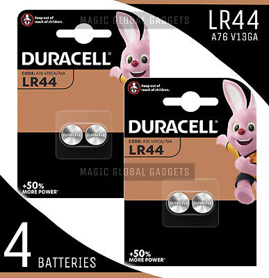 Genuine 4X Duracell Lr44 1.5V Alkaline Button Cell Batteries Lr 44 A76 Hexbug