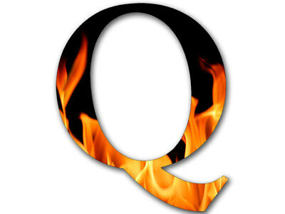 4x4 inch Q Shaped FIRE Sticker  - usa made qanon anon conservative flames trump