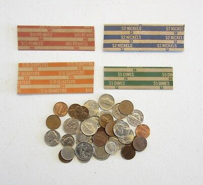 100 Coin Wrappers Mixed     25 Each Of Quarter Dime Nickle And Penny Wrappers