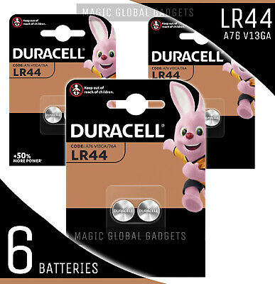 Genuine 6X Duracell Lr44 1.5V Alkaline Button Cell Batteries Lr 44 A76 Hexbug