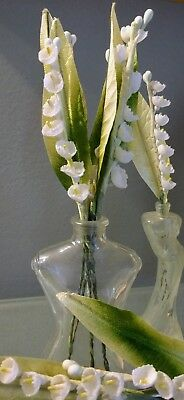 vintage Lily of the Valley hand painted millinery flowers -  5 flowers