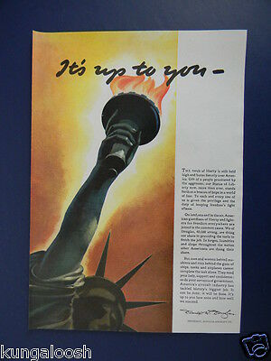 1942 It's Up To You...statue Of Liberty Art Wwii War Effort Douglas Aircraft Ad
