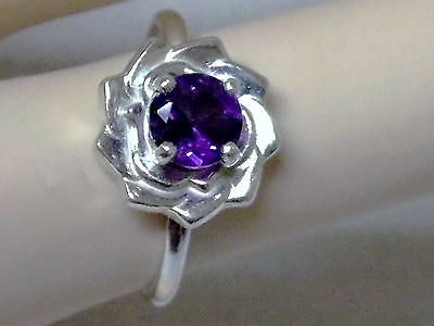 NATURAL  purple amethyst 925 sterling silver flower ring size 8 USA