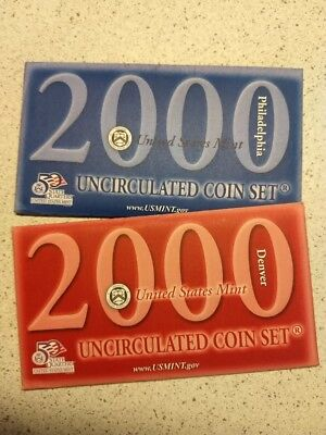 2000 United States US Mint 20 pc Uncirculated Coin Set in Mint Packaging & C.O.A