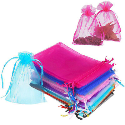 "100x Sheer Organza Wedding Party Favor Gift Candy Bags Jewelry Pouches 3x4"" 5x7"""