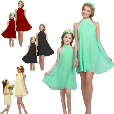 Mother and Daughter Summer Chiffon Mini Dress Mommy&Me Matching Outfit Clothes