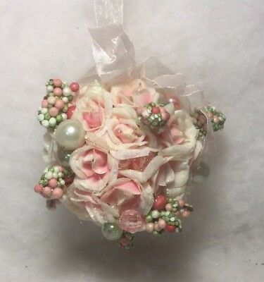 Victorian Pink Rose Ball Christmas tree ornament, beads, pearl, Roses