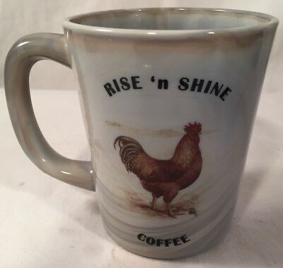 Rise n Shine Coffee Mug Chicken New Hampshire Red Rooster - Gray Swirl Glass USA