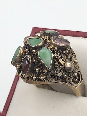 Antique Chinese Export Ultrare Carved Jade Amethyst Sterlign Silver Vermeil Ring
