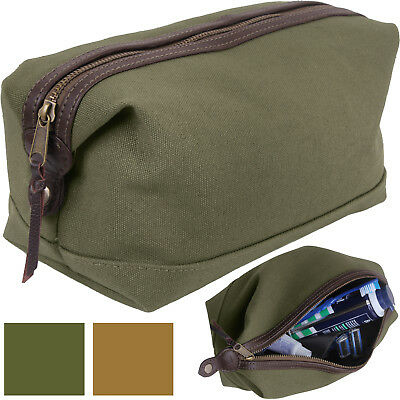 Canvas Leather Military Dopp Travel Toiletry Bag Zipper Case Compact Organizer