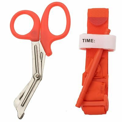 One Hand CAT Tourniquet Combat Application First Aid Handed + Free Shear Orange