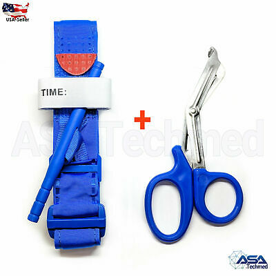 One Hand CAT Tourniquet Combat Application First Aid Handed + Free Shear Blue