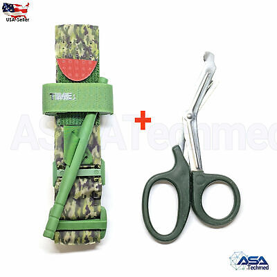 One Hand CAT Tourniquet Combat Application First Aid Handed + Free Shear Green C
