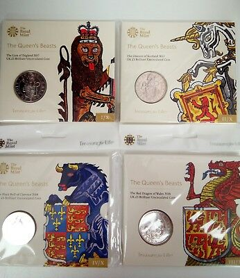 2017 2018 Queens Beasts Brilliant Uncirculated £5 Five Pound Royal Mint Pack