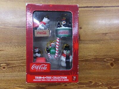 Coca-Cola Set Of 5 Miniature Christmas Ornaments Polar Bear, Penguin, Seal NEW