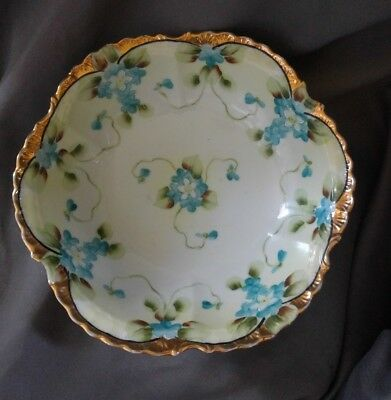 "Large Antique Nippon Hand Painted 10"" Bowl Blue Flowers Gold Decoration"