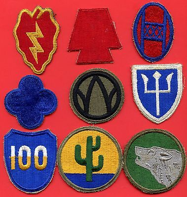 9 USA Army ( 25th 28th 30th 88th 89th 97th 100th 103rd 104th ) Infantry Patches