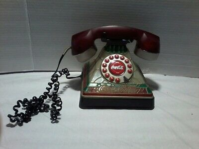 Coca-Cola Tiffany Style Stained Glass Telephone Desk Phone Lighted