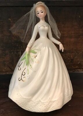 Vtg Josef Originals Figurine Bride Bridal March Wedding Music Box Gorgeous!