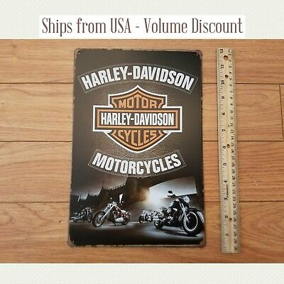Harley Sign Harley Logo Sign Harley Bar and Shield Metal Harley Garage Sign Tin