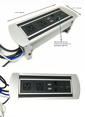 Power Plug In-Desk Power Grommet Connectivity Box Conference Table Port Outlet